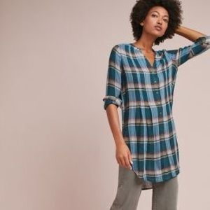 Anthropologie by Akemi + Lucie plaid tunic shirt